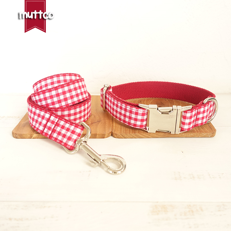 10pcs/lot MUTTCO wholesale characteristic high quality collar THE RED YUMMY PLAID soft dog collars leashes set 5 sizes