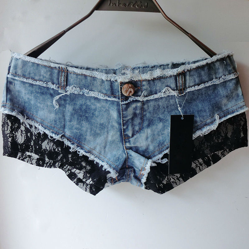 Padaungy Sexy Frauen Jeans Shorts Spitze Hotpants Sommer