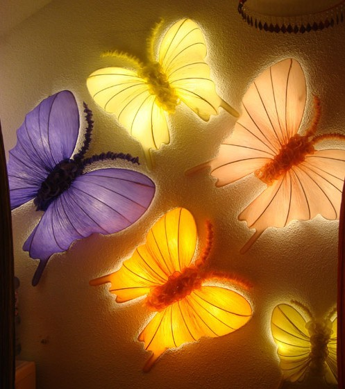 Free shipping butterfly wall lamp ocean fire retardant cloth many colors 400mm fabric lamp