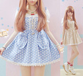 girl dress Soft lantern sleeve lace collar strap love shaped pocket dot one-piece dress