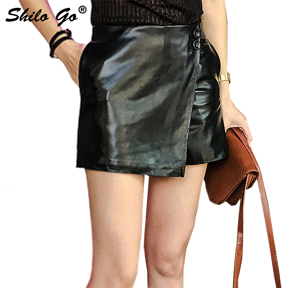 Leather Shorts Womens Spring Fashion Sheepskin Genuine Leather Shorts Button High Waist Asymmetrical Shorts Skirts