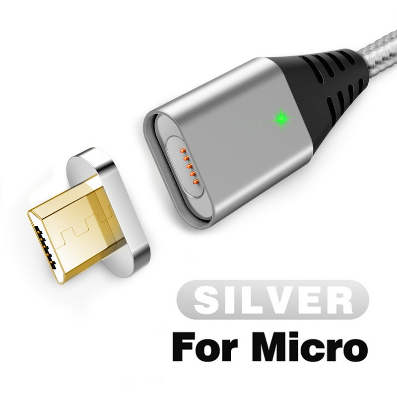 GETIHU 2.4A быстрое зарядное устройство 3,0 Магнитный кабель для iPhone XS XR X 7 6 Быстрый Micro usb type C магнит type-C телефонный кабель для samsung - Цвет: For Micro USB Silver