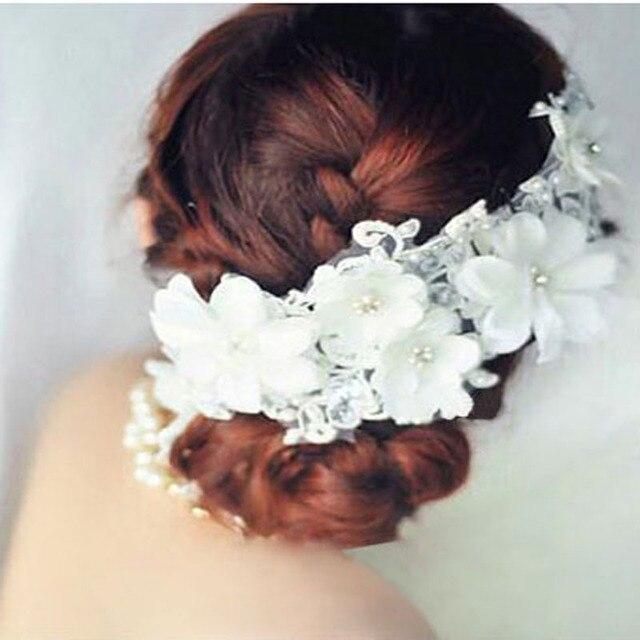 tocados de novia con encaje de flores de tela de bandas para la cabeza de la