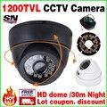 Ler HD 1/4 cmos 1200TVL Indoor Mini casa IRcut Câmera Dome 24 leds Segurança Vigilância Visão Noturna Infravermelha 30 m de Vídeo a Cores