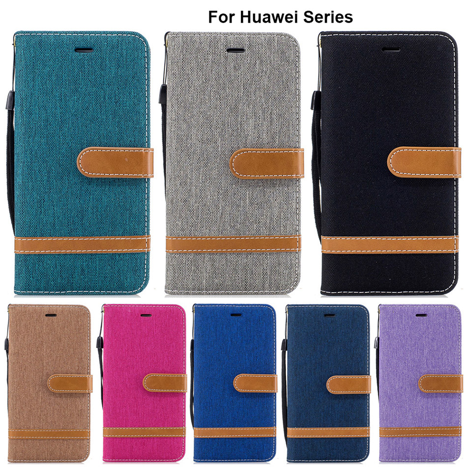Hot New B118 Hit Color Stand Wallet Flip Cover For Huawei Honor 6X Y7 Mate 9 Y5 P9 P8 Lite 2017 II P10 Plus Cloth Skin Case Capa