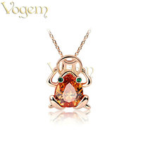 18K Rose Gold Plated Pendant Necklaces Druzy Frog Necklace Austria Crystal Jewelry For Women Drop Shipping