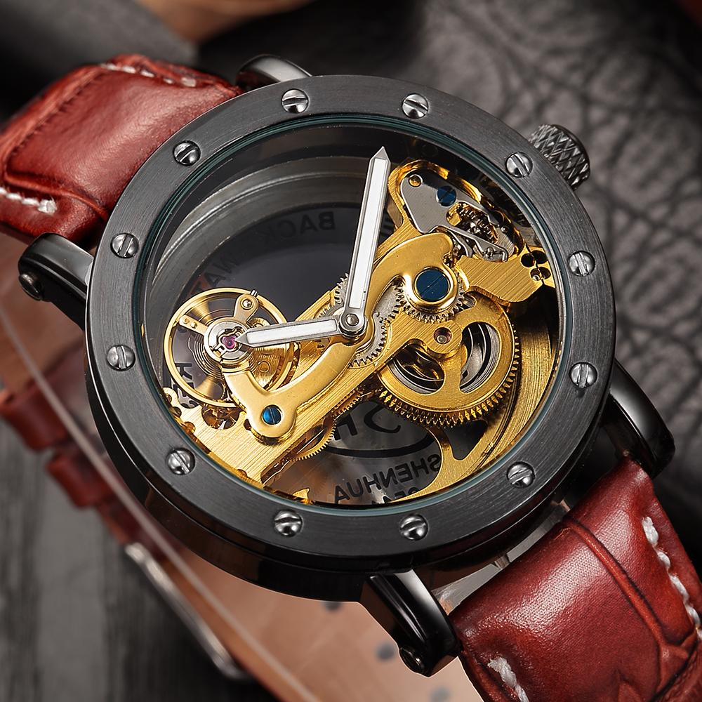 лучшая цена SHENHUA Automatic Mechanical Tourbillon Watches Men Top Brand Luxury Leather Band Transparent Skeleton Watch Relogio Masculino