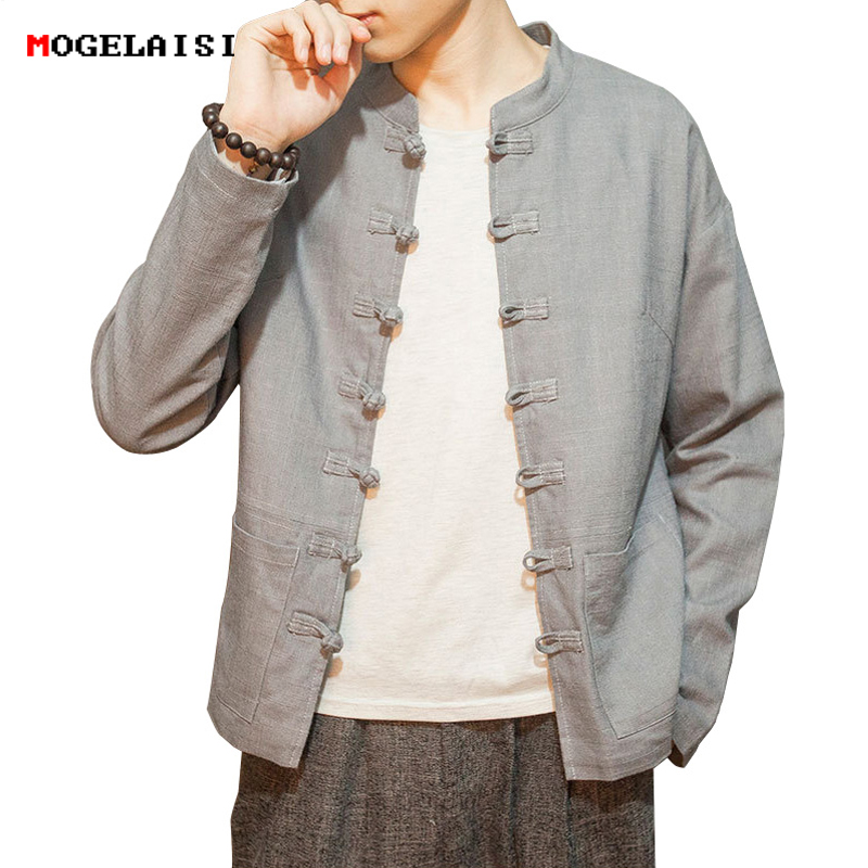 Autumn Mens Jackets Linen Cotton 5xl Retro Men Coat