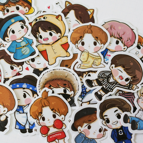 67pcs Creative Cute Self-made Exo Q Version Pretty Boys Scrapbooking Stickers /Decorative Sticker /DIY Craft Photo Albums