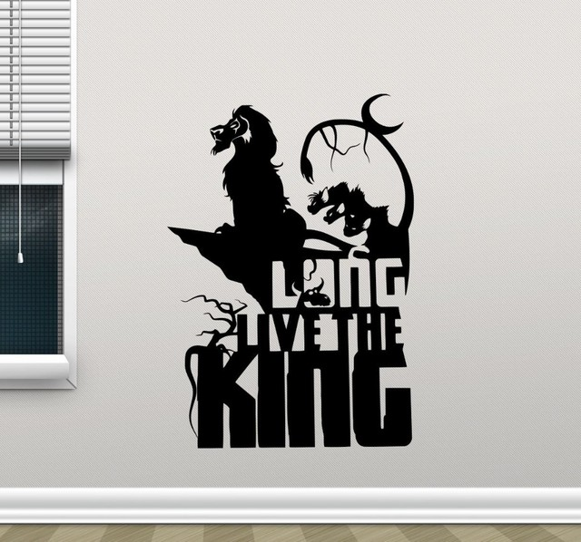 Free Shipping Lion King Wall Decal Long Live The King Cartoons Vinyl  Sticker Simba Nursery Wall