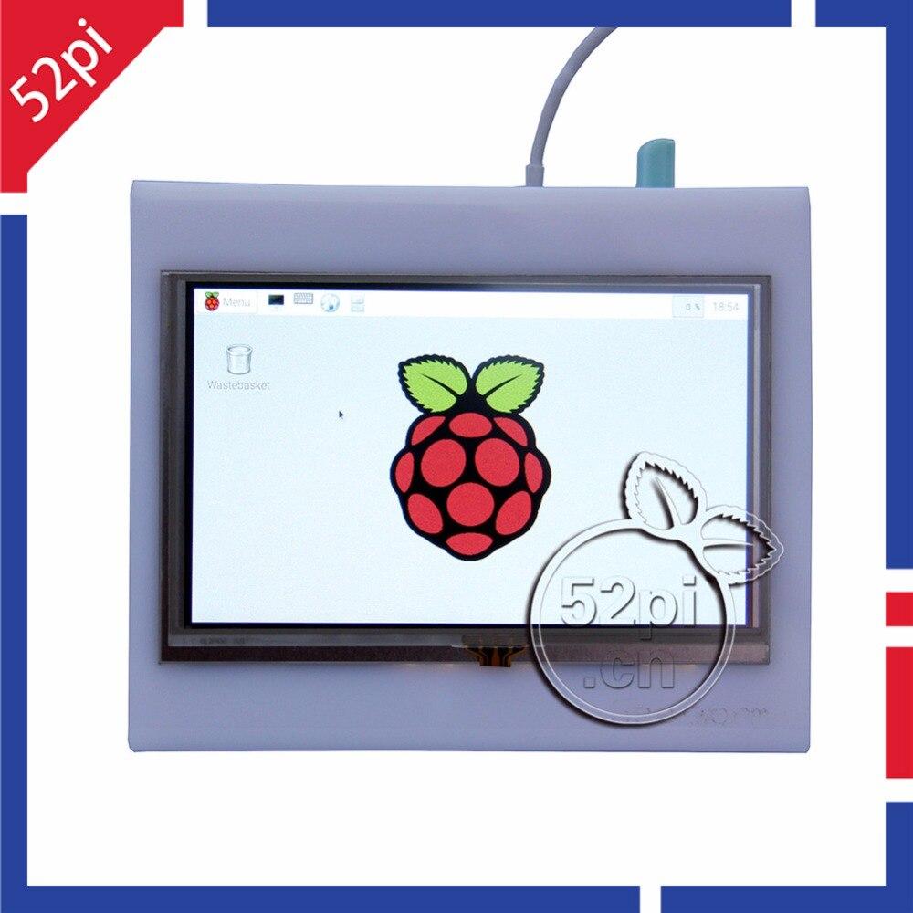 52Pi Framboise Pi 5 pouces 800x480 HDMI LCD écran tactile avec Acrylique Cas pour Raspberry Pi 2B/3B /3B Plus (3B +)