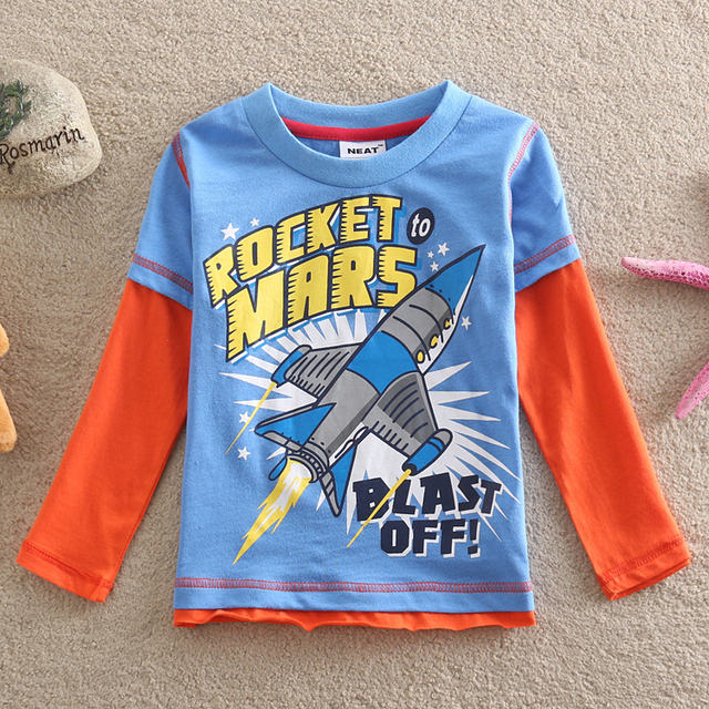 Neat nuevo 2016 ropa al por mayor del bebé lindo de La Camiseta de impresión rocket color puro de los niños ropa 100% algodón camiseta Completa L886