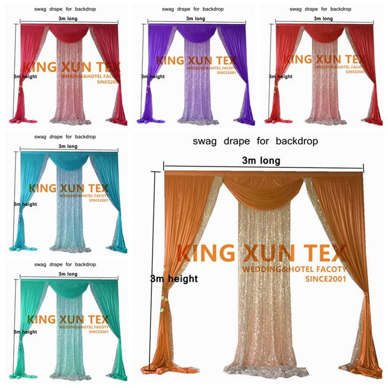 3m x 3m Backdrop Drape Swag Valance With Sequin Fabric Fit For Wedding Backdrop Photo Booth Decoration