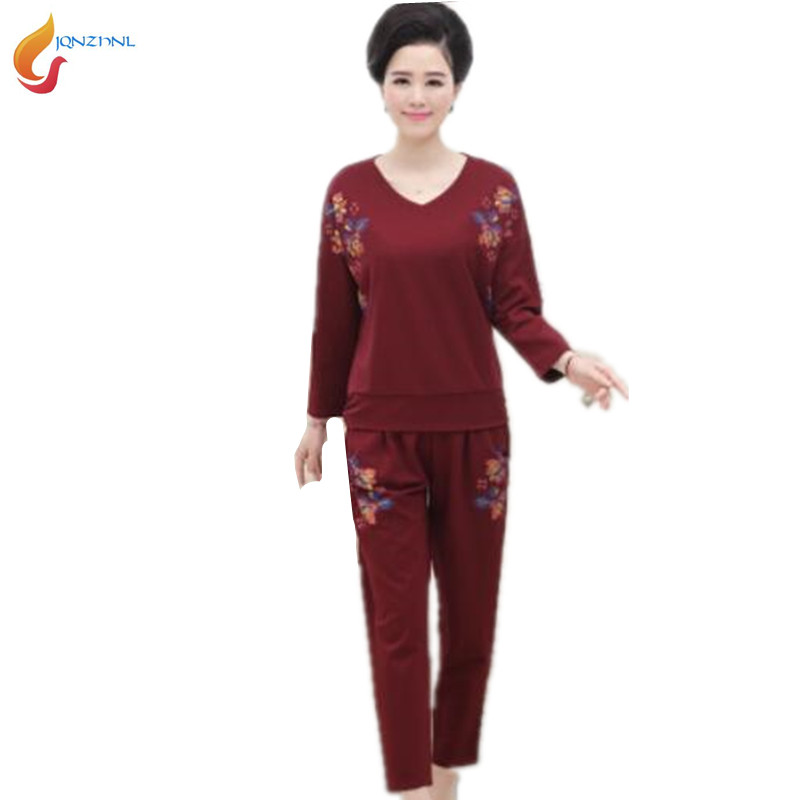 2018 New women spring Middle age large size casual sportswear suit fashion Long sleeves+trousers Twinset Costumes G184 JQNZHNL 1