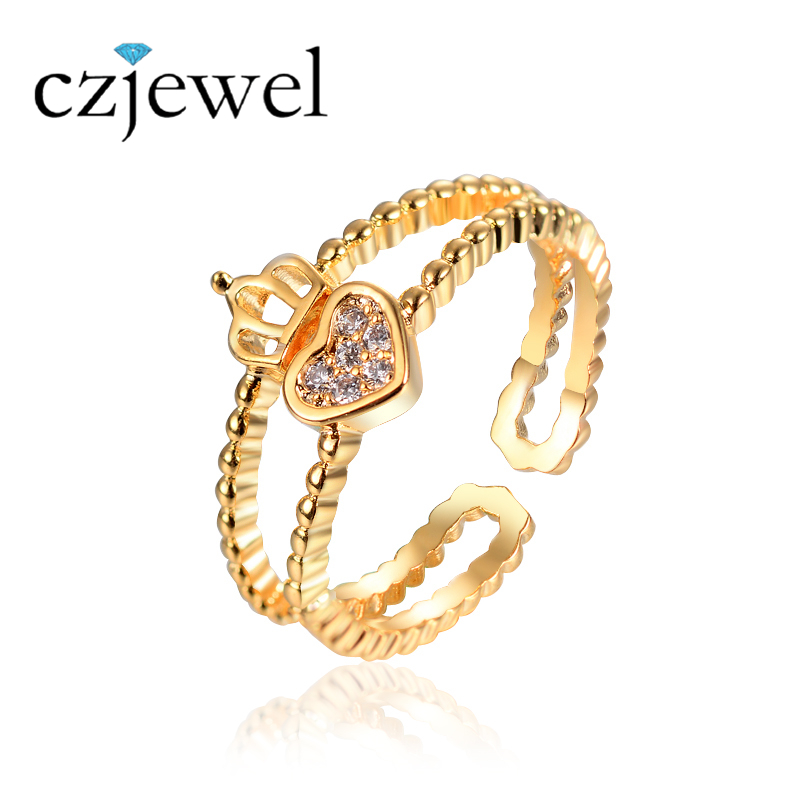 3 Colors Heart Crown pinky Ring for Women With Clear Zircon Jewelry Gold/Silver/Rose Gold Color Jewelry