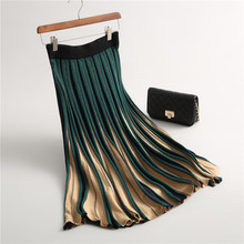 2019 Women Knitted Pleated Skirt Autumn Winter Color Patch High Waist Long Female Warm Ladies Maxi Midi Saia