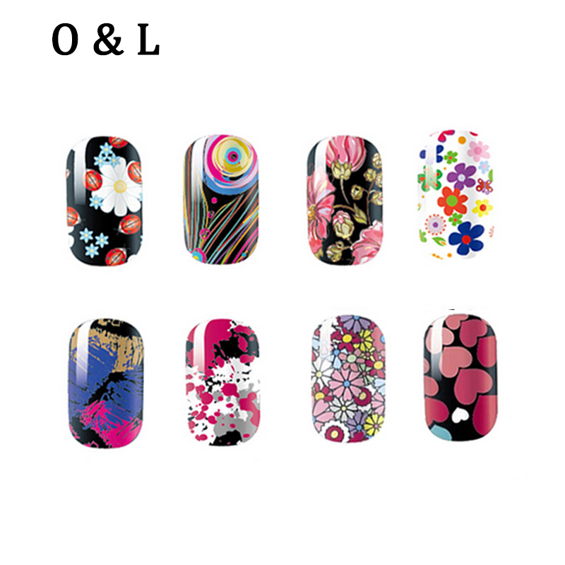 1pcs Beautiful Flowers font b Nail b font Patch Stickers Manicure Adhesive Full font b Nail