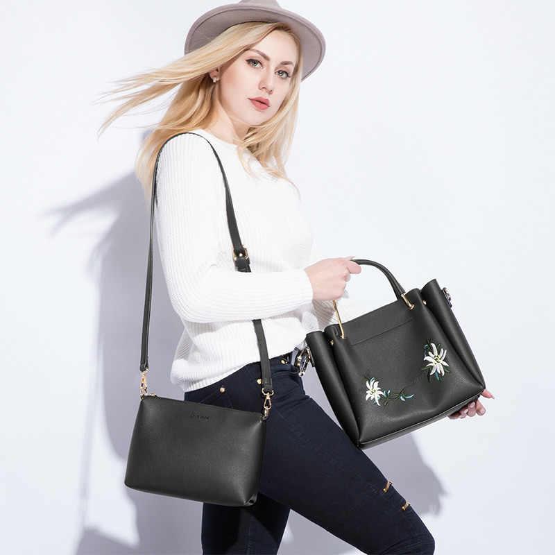 Lovevook 女性のハンドバッグ女性ショルダーバッグクロスボディバッグ刺繍高品質のメッセンジャーバッグ財布バッグセット 2019