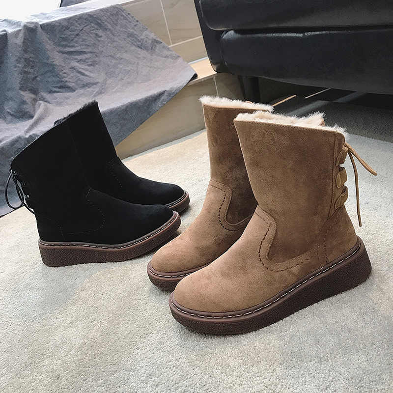 New Sheepskin Leather Wool Fur Lined Women Short Ankle Winter Suede Snow Boots Thickened Plus Velvet Cross Strap Winter Shoes