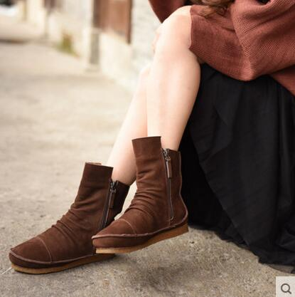 Artmu 2016 Winter Warm Boots Zipper Nubuck Genuine Leather Boots Flats Casual Thermal Boots Flat Snow Women Boots Real Pictrue