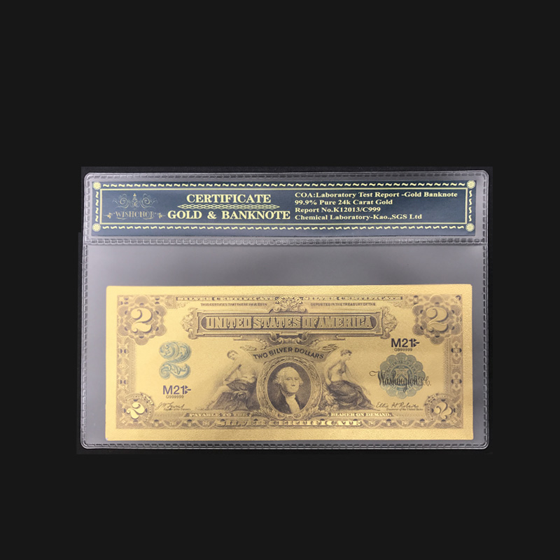 Nice 1899 Series $2 Two Dollar Silver Certificate US Gold Banknote Fine 24k Gold Foil Note With PVC Frame For Collection