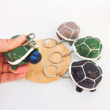 cute turtle telescopic head keychains kid creative funny vent key chain pressing green gray toy keyring pendant
