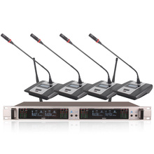 Professional Wireless Microphone System 407GT 4-Channel UHF Dynamic 4 Headphones Collar Line Conference