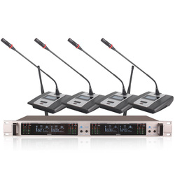Professional Wireless Microphone System 407GT 4-Channel UHF Dynamic Professional 4 Headphones Collar Line Conference