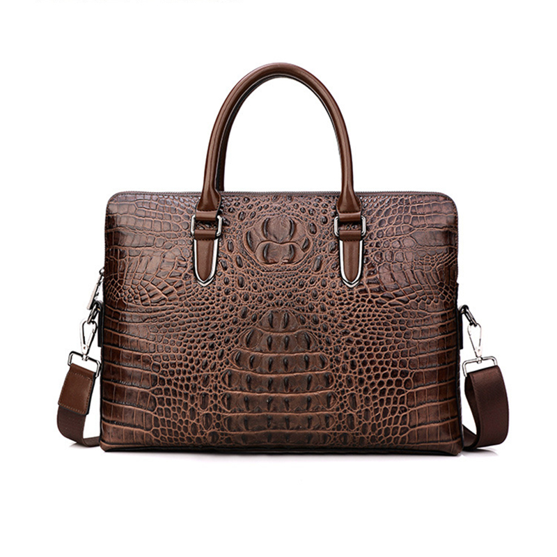 Crocodile Genuine Leather Luxury Laptop bags for Men Cow Leather Notebook bag Fashion briefcase Casual Business Travel bag 2017 senior business retro leather notebook travel log laptop notebook low price promotion