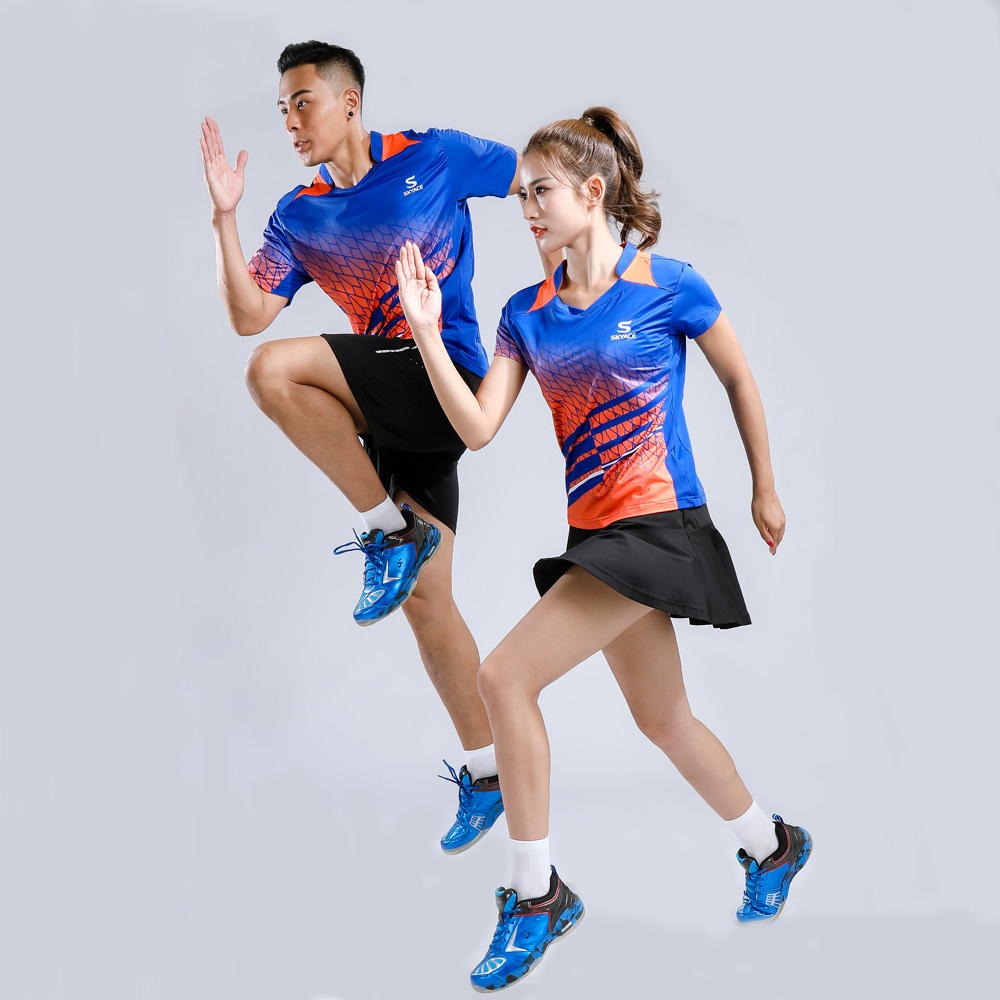Crianças e Adultos Respirável e Secagem Rápida de Manga Curta com Decote em v Roupas de Tênis de Mesa Adsmoney Terno Badminton Tênis