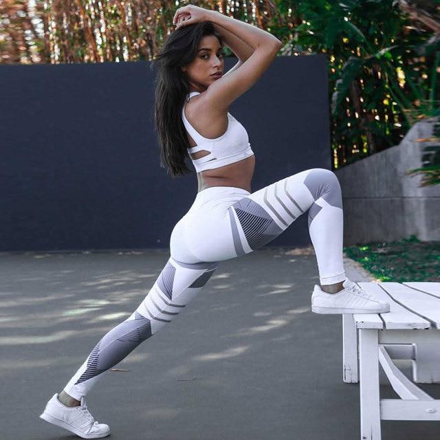 High Elastic Printing Women Fitness Leggings Push Up Pants 3