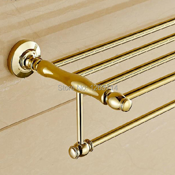 Free Shipping Bathroom Accessories Solid Brass Golden Finished Towel Bar,Bathroom Product Towel Holder,Towel Rack OG-25822C