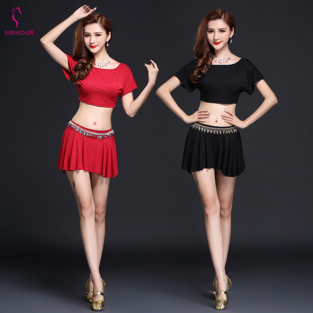2019 NEW WomenBelly Dance Costume Practice Wear Oriental Bollywood Dancing Dress Top Skirt BeltSetDance Wear Sexy For Adult