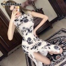 Элегантное платье Ципао в китайском стиле без рукавов, вечерние платья Ципао с цветочным принтом, длинное китайское платье, атласное платье