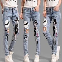 2016 fashon Korean personality loose collapse pants feet European and American style cartoon cowboy hole printed jeans w266