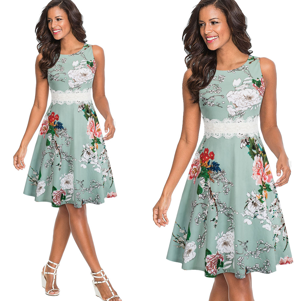 Nice-forever Vintage Elegant Embroidery Floral Lace Patchwork vestidos A-Line Pinup Business Women Party Flare Swing Dress A079 130