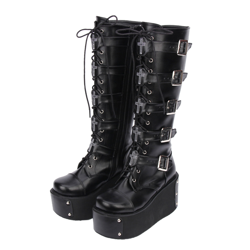 Princess sweet punk shoes Japanese design custom new thick platform round-toe lace-up motorcycle punk high boots pu7008