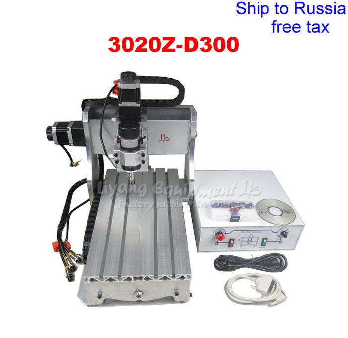 3020Z-D300 mini desktop CNC milling machine with ball screw and 300W spindle to Russia free tax eur free tax cnc 6040z frame of engraving and milling machine for diy cnc router
