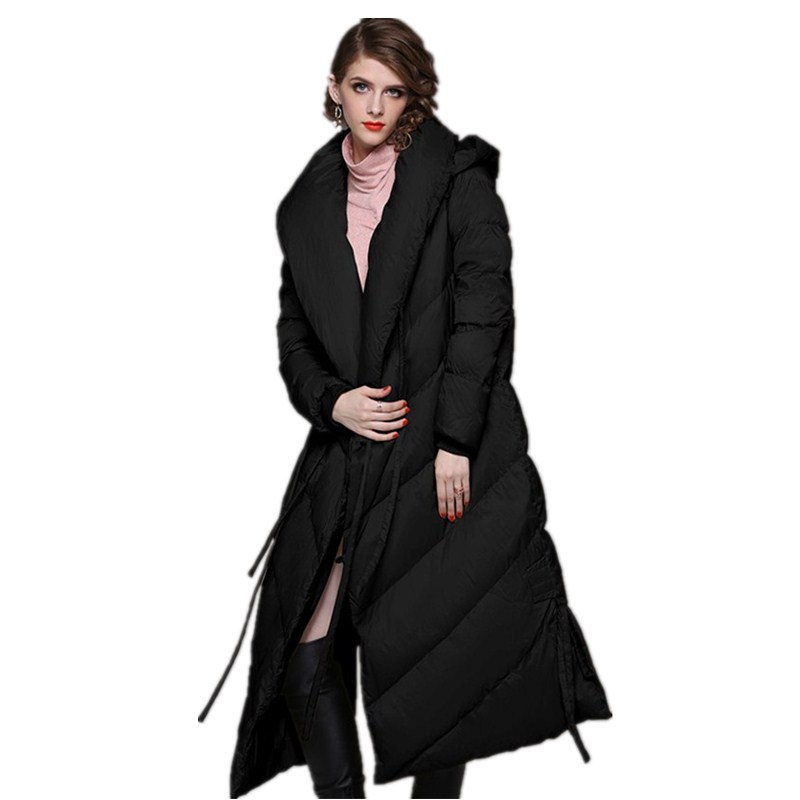 Le Vêtements Hiver Capuchon De Simple khaki À Manches 2018 Longues Bas Nouvelle Vers Chaud Black Veste Femmes Longue XwfdxnZ
