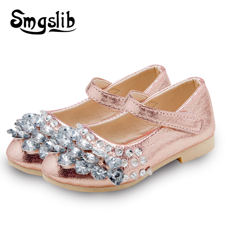 Children shoes girls Fashion Rhinestone Princess glitter Girls Dance Shoes Party PU Leather Autumn spring Kids Shoes for Girl