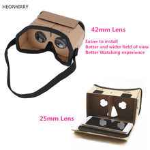 DIY Portable Virtual Reality Glasses Google Cardboard 3D Glasses 42mm lens VR Box For SmartPhones For Iphone X 7 8 VR(China)