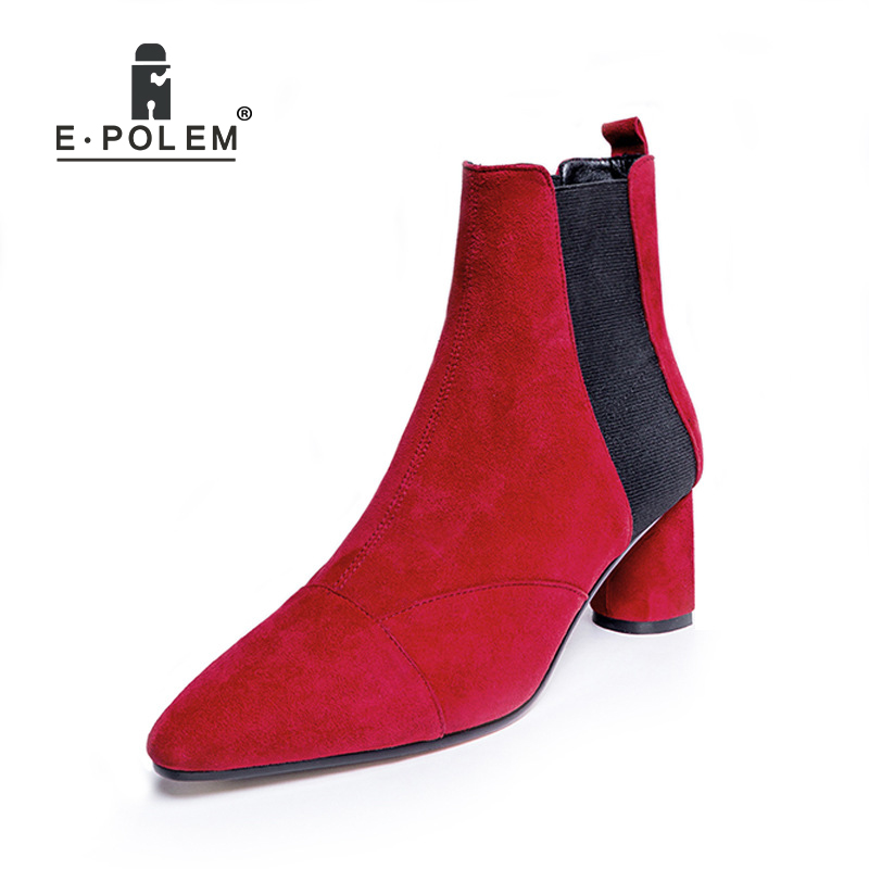 Women Boot Female Leather Ankle Boots High Heel Genuine Leather Martin Boots Ladies Round Toe Elastic Band Short Booties front lace up casual ankle boots autumn vintage brown new booties flat genuine leather suede shoes round toe fall female fashion