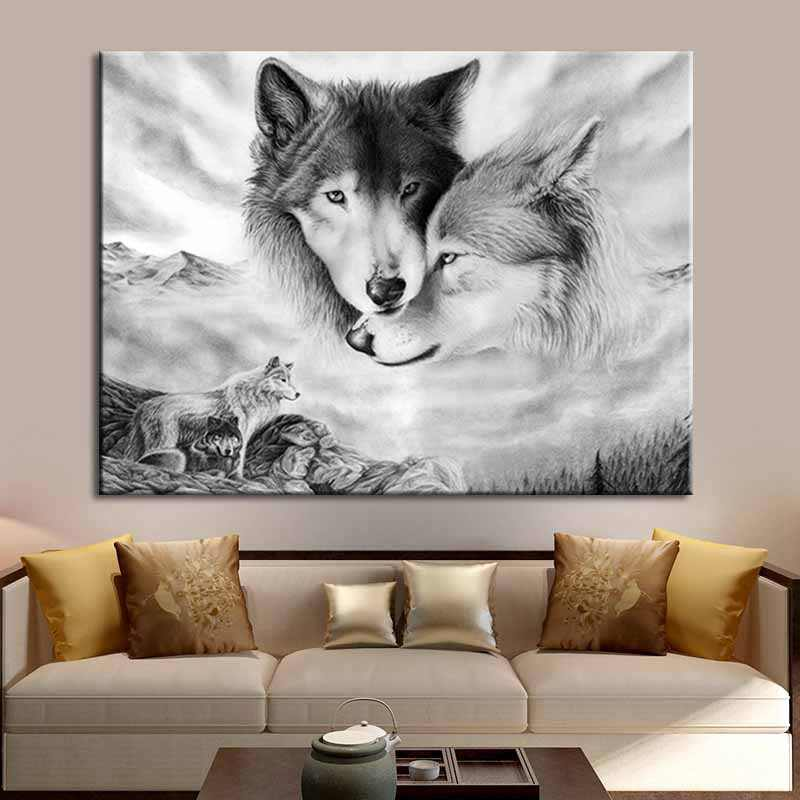Wolf Animals Wall Art Pictures Print Canvas Oil Painting Nordic Black White Poster  For Living Room Home Decoration No Frame