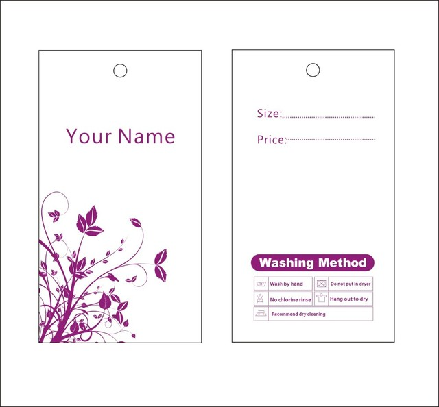 Custom Print Hang Tags Price Label Famous Template  Flower Design
