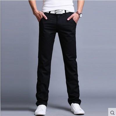 e8c9628b Longitud de la rodilla Denim Pantalones sólido de los hombres 100% algodón vaqueros  rectos cortos