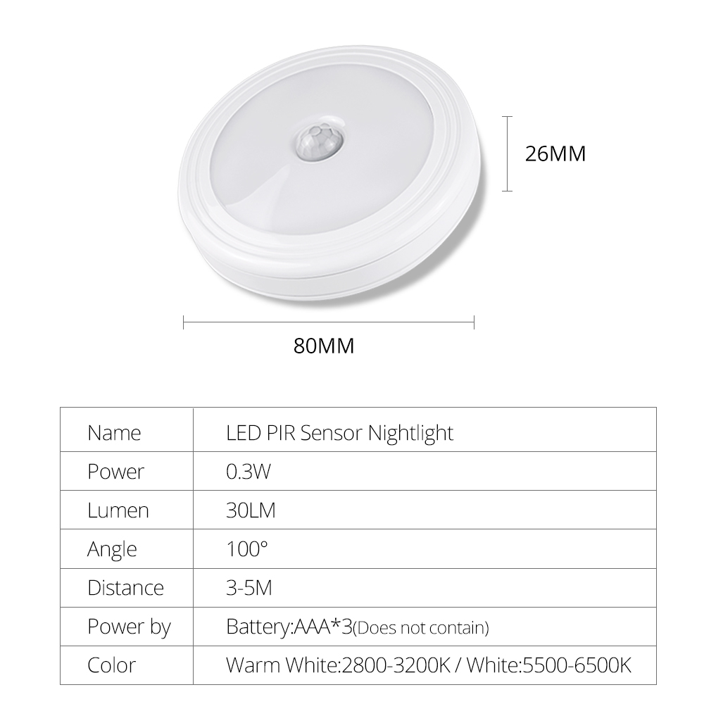 PIR Wireless Motion Sensor LED Night Light 6 LEDs With Magnetic AAA Battery Operated Cabinet Stairs Wall Lamp