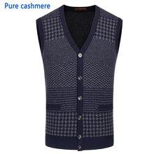 5503a174e284e Nueva Otoño Invierno Cardigan hombres chaleco hecho punto 100% Cachemira  suéter grueso sin mangas v-cuello Casual alta calidad t.