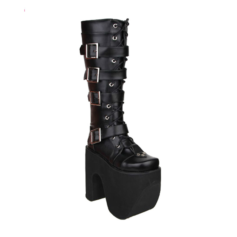 Princess sweet punk shoes autumn LOLITA boots thick bottom muffin COS anime boots high boots female buckle strap women pu9708 ensemble stars 2wink cospaly shoes anime boots custom made
