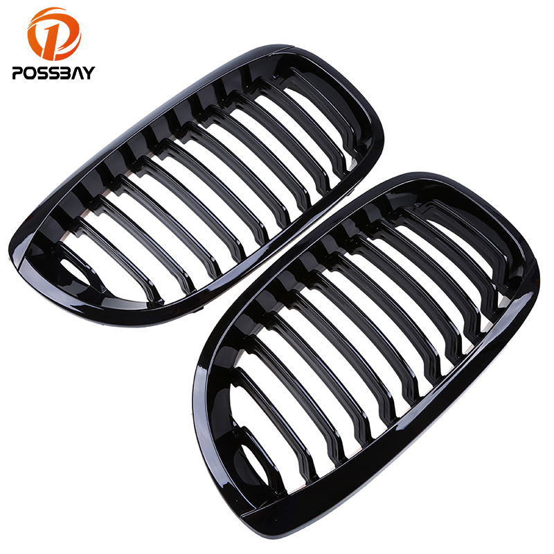 POSSBAY Gloss Black Car Front Kidney Grille for BMW 3 Series E46 320Ci 325Ci 330Cd Cabrio