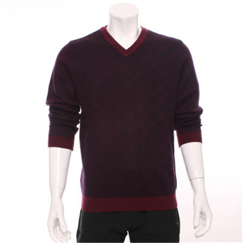100%goat Cashmere Dark Argle Add Thick Knit Men Boutique Casual Pullover Sweater Vneck Purple Red 2color S-3XL Retail Wholesale